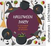 halloween vector background.... | Shutterstock .eps vector #1456746644