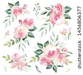 watercolor floral compositions...   Shutterstock . vector #1456806377