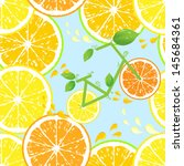 Seamless pattern of Bicycle of health with wheels from a lemon and an orange