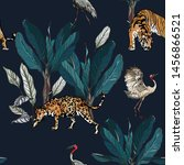 seamless pattern jungle forest...   Shutterstock .eps vector #1456866521