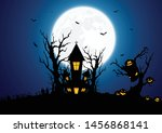 halloween background decorated... | Shutterstock .eps vector #1456868141