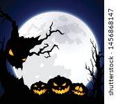 halloween background decorated... | Shutterstock .eps vector #1456868147