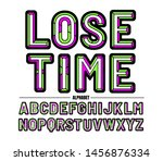 chiseled alphabet letters set... | Shutterstock .eps vector #1456876334