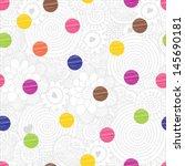 cute seamless pattern  polka... | Shutterstock .eps vector #145690181