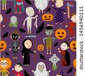 seamless pattern. funny boys in ... | Shutterstock .eps vector #1456940111