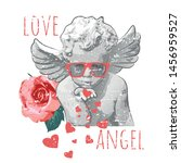 Antique Baby Angel Statue And...