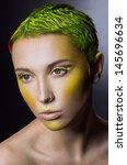 Creative Makeup With Green Hair