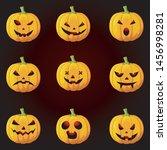 set of halloween pumpkins with... | Shutterstock .eps vector #1456998281
