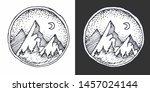 hand drawn emblem of mountains  ...   Shutterstock .eps vector #1457024144