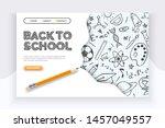 back to school banner. hand... | Shutterstock .eps vector #1457049557