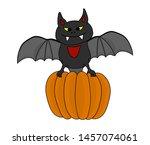 halloween bat with pumpkin ... | Shutterstock .eps vector #1457074061