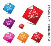 colorful big sale tags with... | Shutterstock .eps vector #145709315