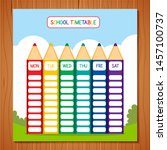 school timetable template   a... | Shutterstock .eps vector #1457100737