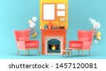 frame on the fireplace... | Shutterstock . vector #1457120081