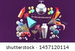 drinks surrounded by masks ... | Shutterstock . vector #1457120114