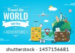 travel composition with famous... | Shutterstock .eps vector #1457156681
