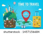travel composition with famous... | Shutterstock .eps vector #1457156684