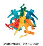 skate people silhouettes...   Shutterstock .eps vector #1457173004