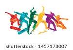 skate people silhouettes... | Shutterstock .eps vector #1457173007