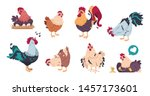 chicken and rooster. cute... | Shutterstock .eps vector #1457173601