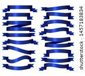 ribbon banner set.vector blue... | Shutterstock .eps vector #1457183834