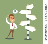 businessman standing at cross... | Shutterstock .eps vector #1457185064