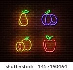 neon vegetables fruits signs... | Shutterstock .eps vector #1457190464