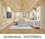 luxury bed in a large... | Shutterstock . vector #1457200061