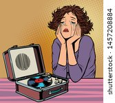 woman listening to sad music ...   Shutterstock .eps vector #1457208884