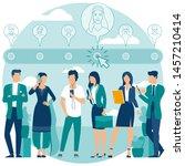 flat design hiring and... | Shutterstock .eps vector #1457210414