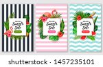 summer sale discount poster set.... | Shutterstock .eps vector #1457235101
