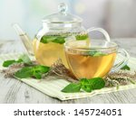 teapot and cup of herbal tea...   Shutterstock . vector #145724051