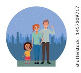 family young father and mother... | Shutterstock .eps vector #1457309717