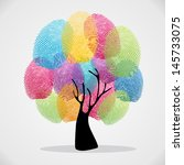 diversity color tree finger... | Shutterstock .eps vector #145733075