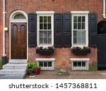 Old american colonial townhouse ...
