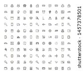 global delivery line icon set.... | Shutterstock .eps vector #1457378501