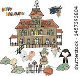 haunted house party funny... | Shutterstock .eps vector #1457393804