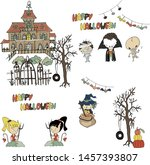 haunted house party funny... | Shutterstock .eps vector #1457393807