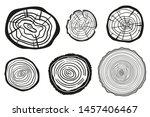 tree rings on white. wood cross ... | Shutterstock .eps vector #1457406467