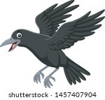 Cartoon Crow Flying Isolated O...