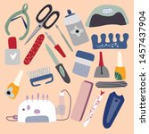 manicure  pedicure equipment... | Shutterstock .eps vector #1457437904