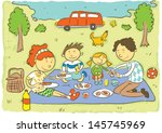 family picnic.child's hand... | Shutterstock .eps vector #145745969