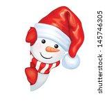 Vector Of Fun Snowman Hiding B...