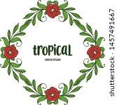 tropical plant  ornate frame... | Shutterstock .eps vector #1457491667