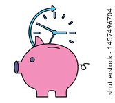 piggy savings with time clock... | Shutterstock .eps vector #1457496704
