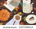 cozy autumn background. cute... | Shutterstock .eps vector #1457498414