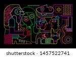 group of strange people with... | Shutterstock .eps vector #1457522741