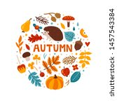 vector autumn greeting card... | Shutterstock .eps vector #1457543384