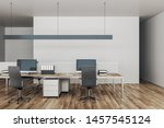 minimalistic coworking office... | Shutterstock . vector #1457545124