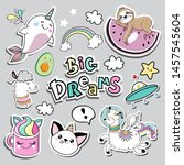 fashion patch badges with llama ...   Shutterstock .eps vector #1457545604